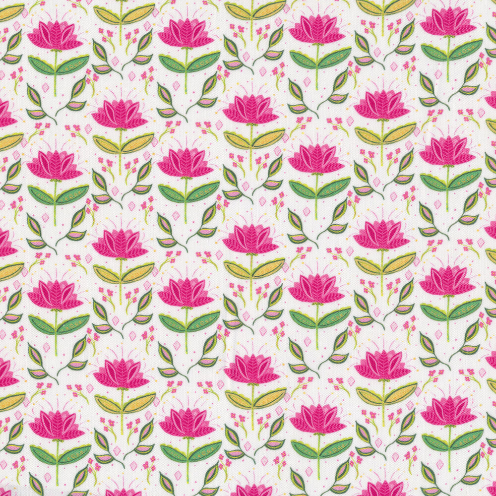Bright pink flowers with green stems on a white background   Shabby Fabrics