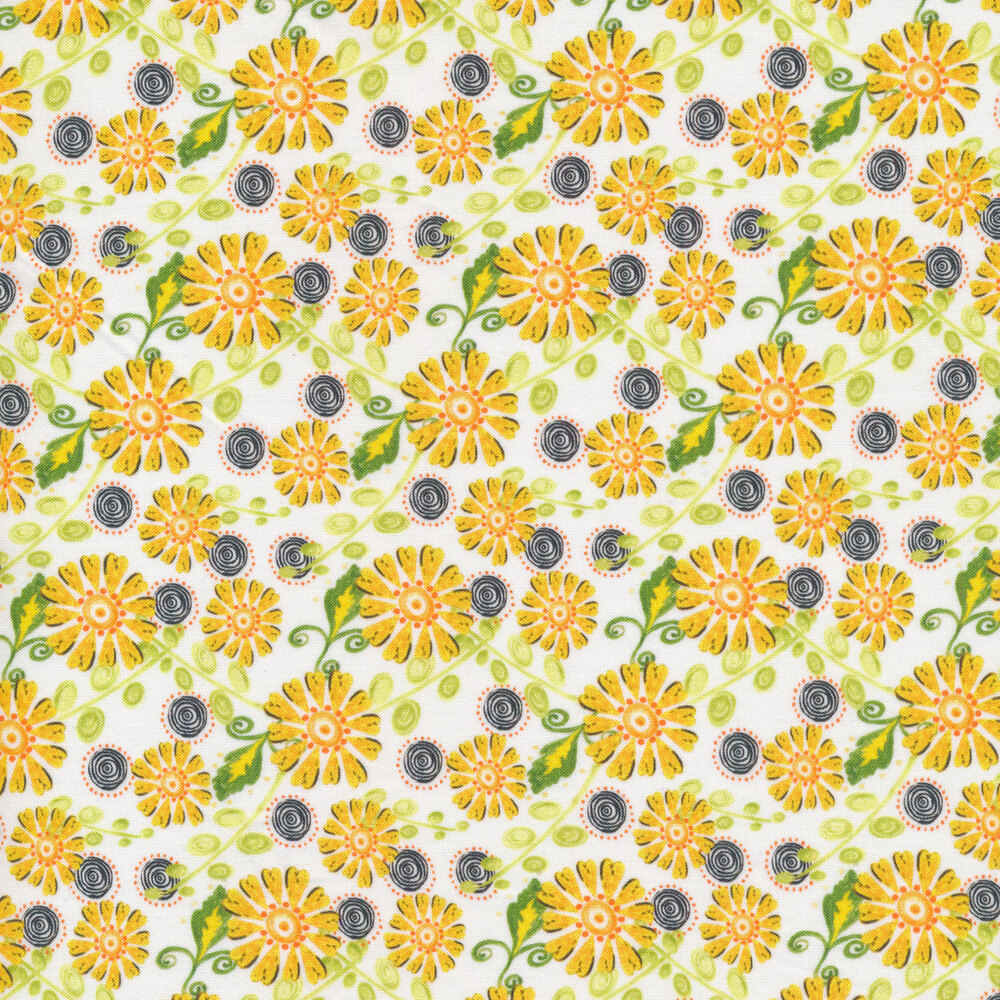 Yellow flowers and black spiral dots all over a white background | Shabby Fabrics