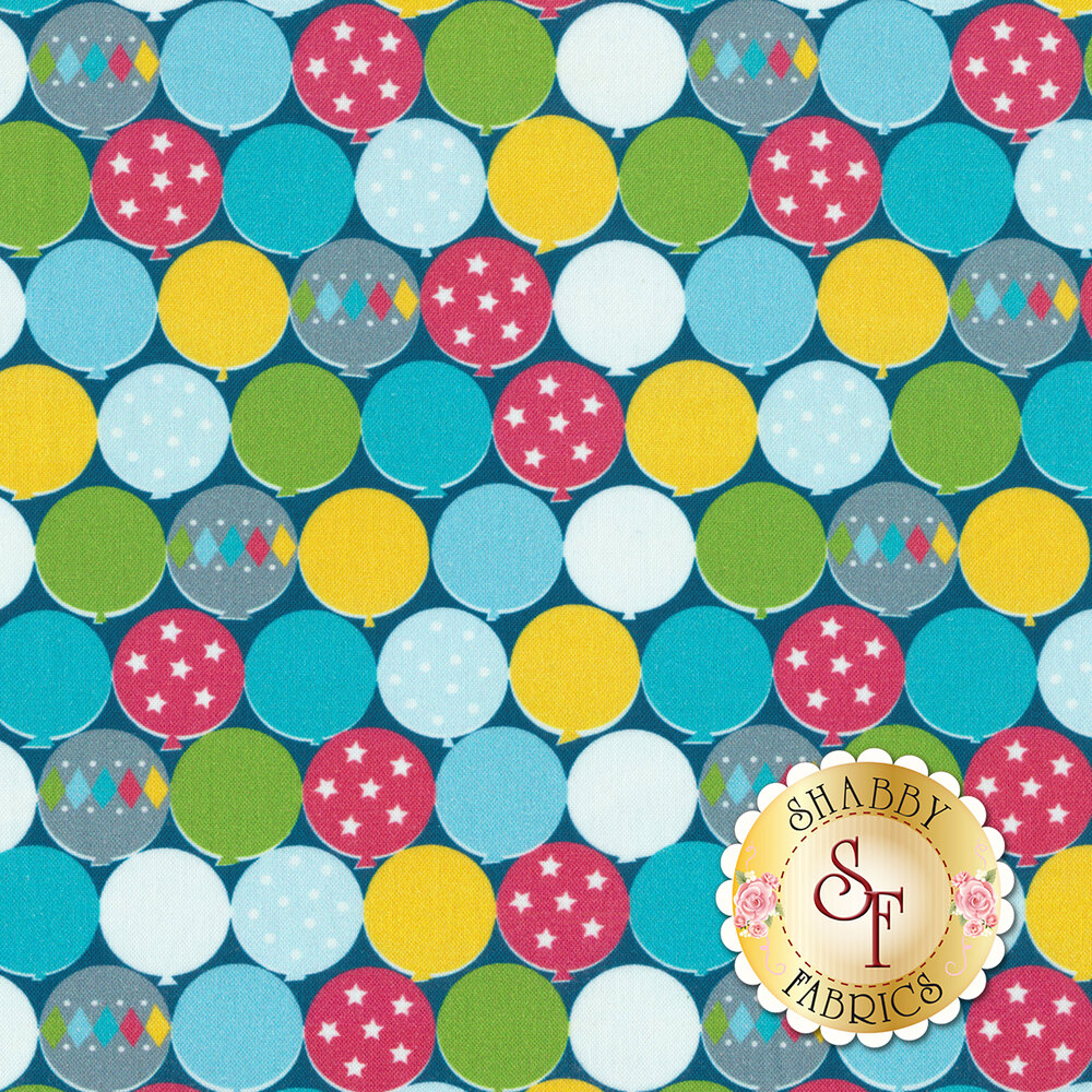 Multi-colored balloons with different designs all over a navy background | Shabby Fabrics