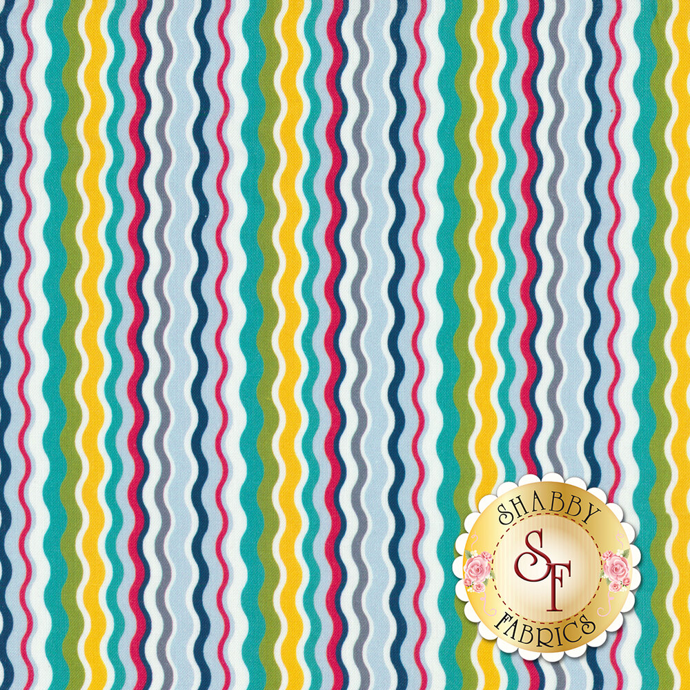 Multi-colored thin wavy stripes | Shabby Fabrics