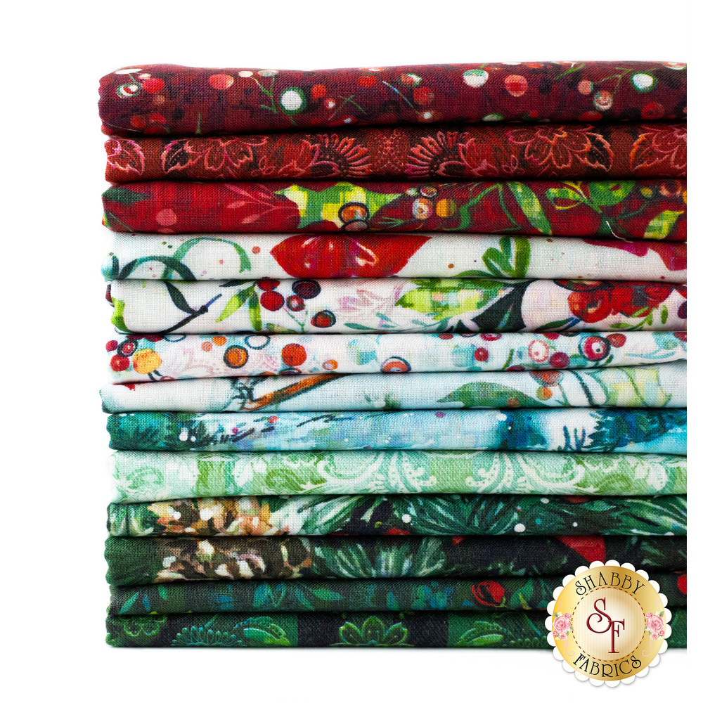 A stack of the half yard cuts of the Pineview fabric collection