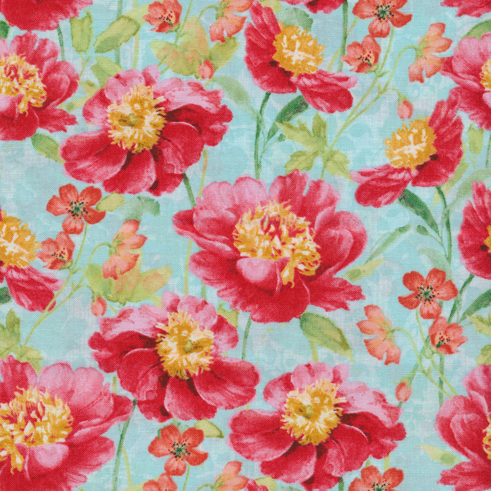 Pink flowers with a light blue background | Shabby Fabrics