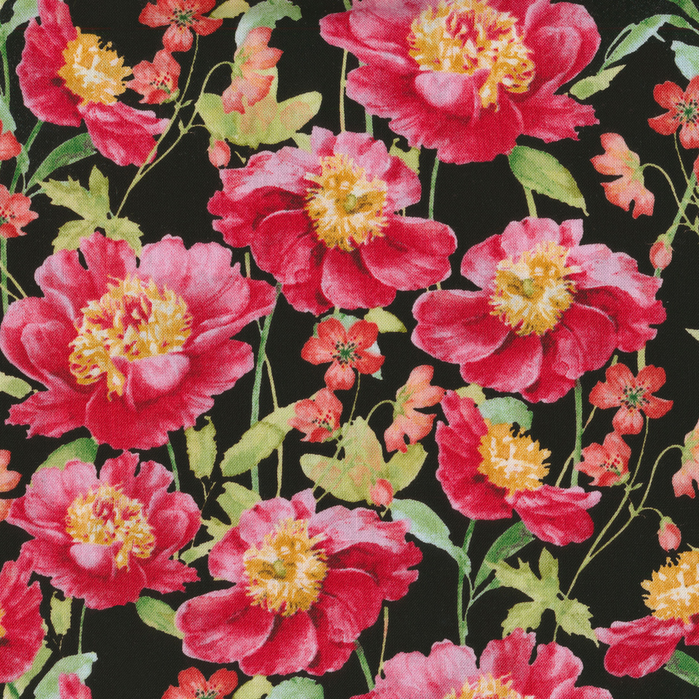 Pink flowers with a black background | Shabby Fabrics
