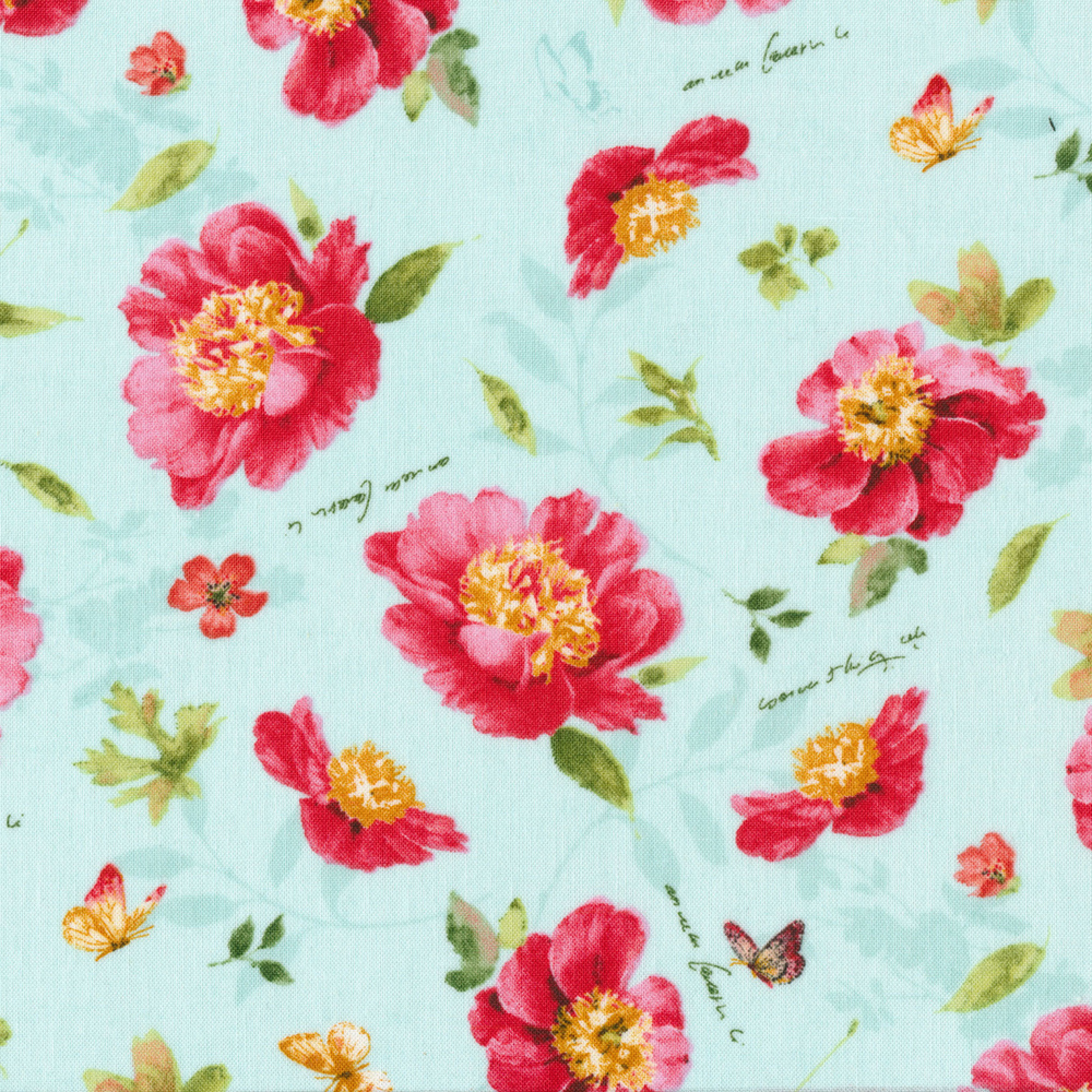 Pink tossed flowers with butterflies on a teal background | Shabby Fabrics