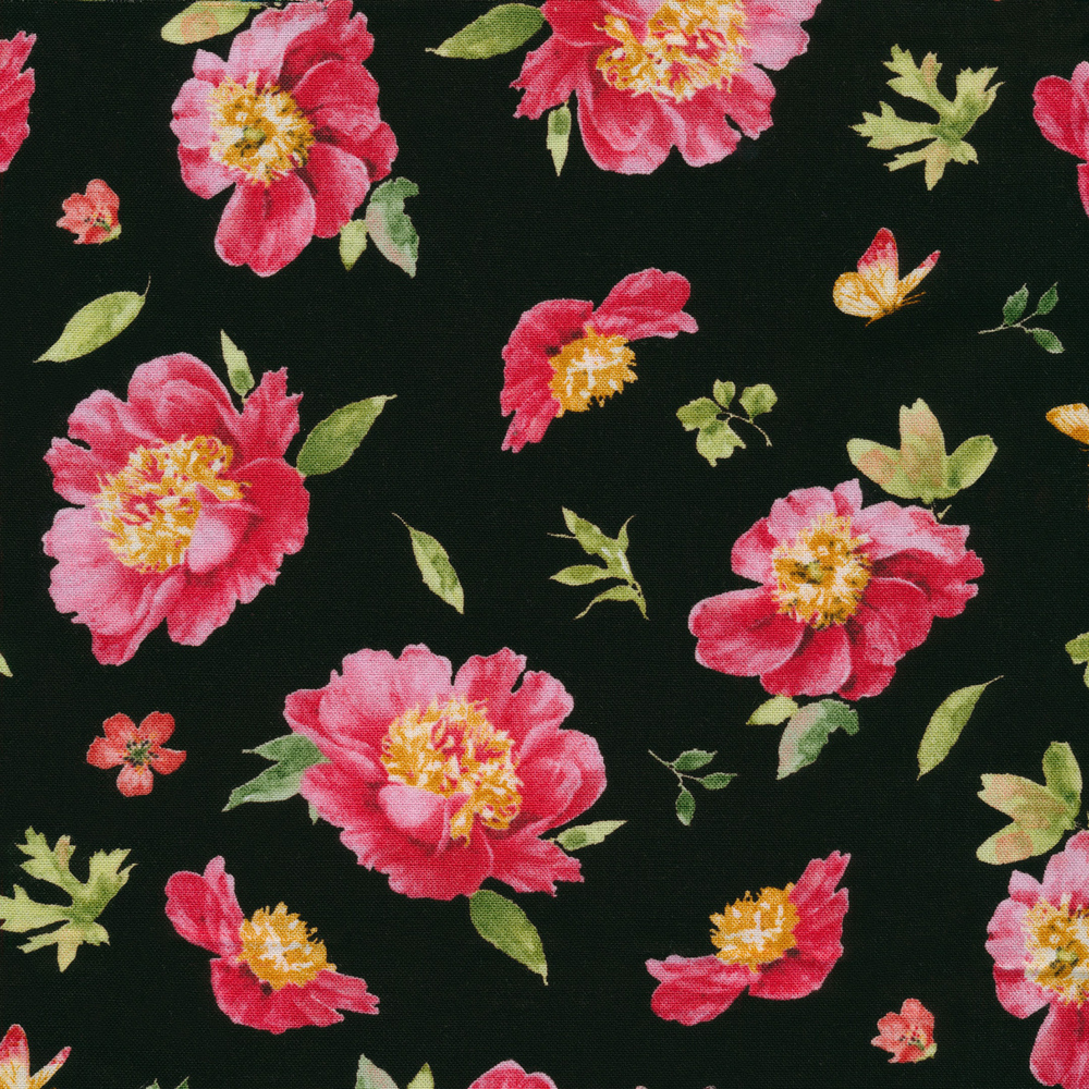 Pink tossed flowers with butterflies on a black background | Shabby Fabrics
