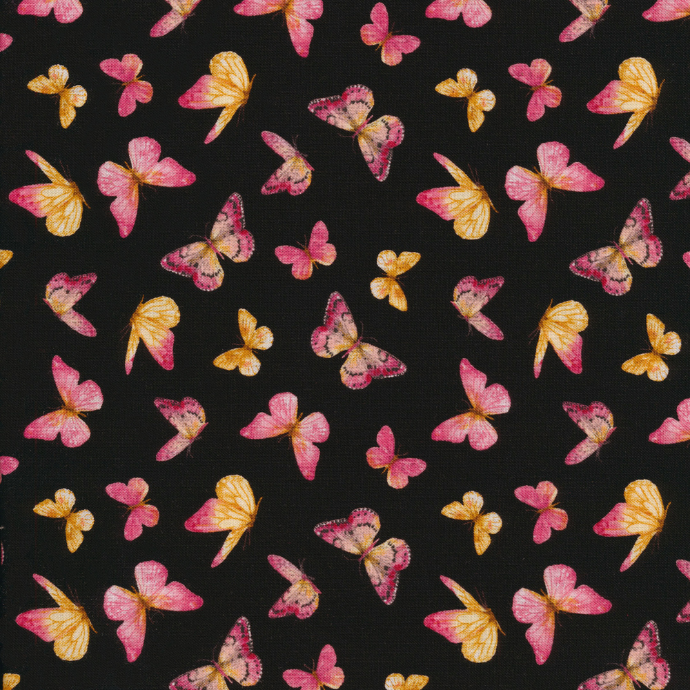 Pink butterflies tossed on black | Shabby Fabrics