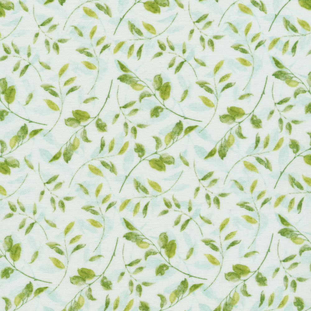 Leaves and vines tossed on teal | Shabby Fabrics