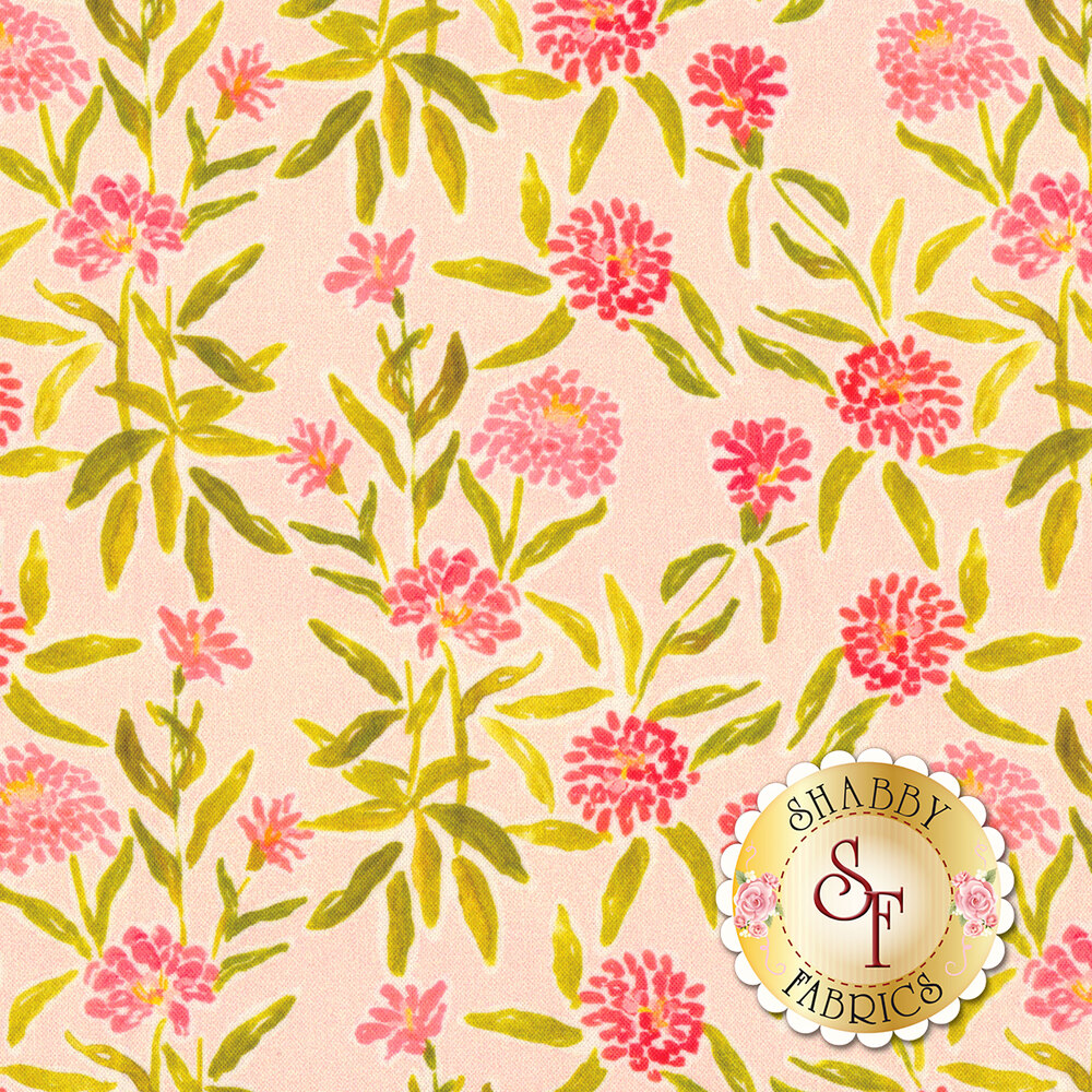 Pink flowers on green vines on pink background | Shabby Fabrics