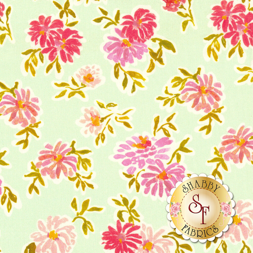 Pink flowers on aqua background | Shabby Fabrics