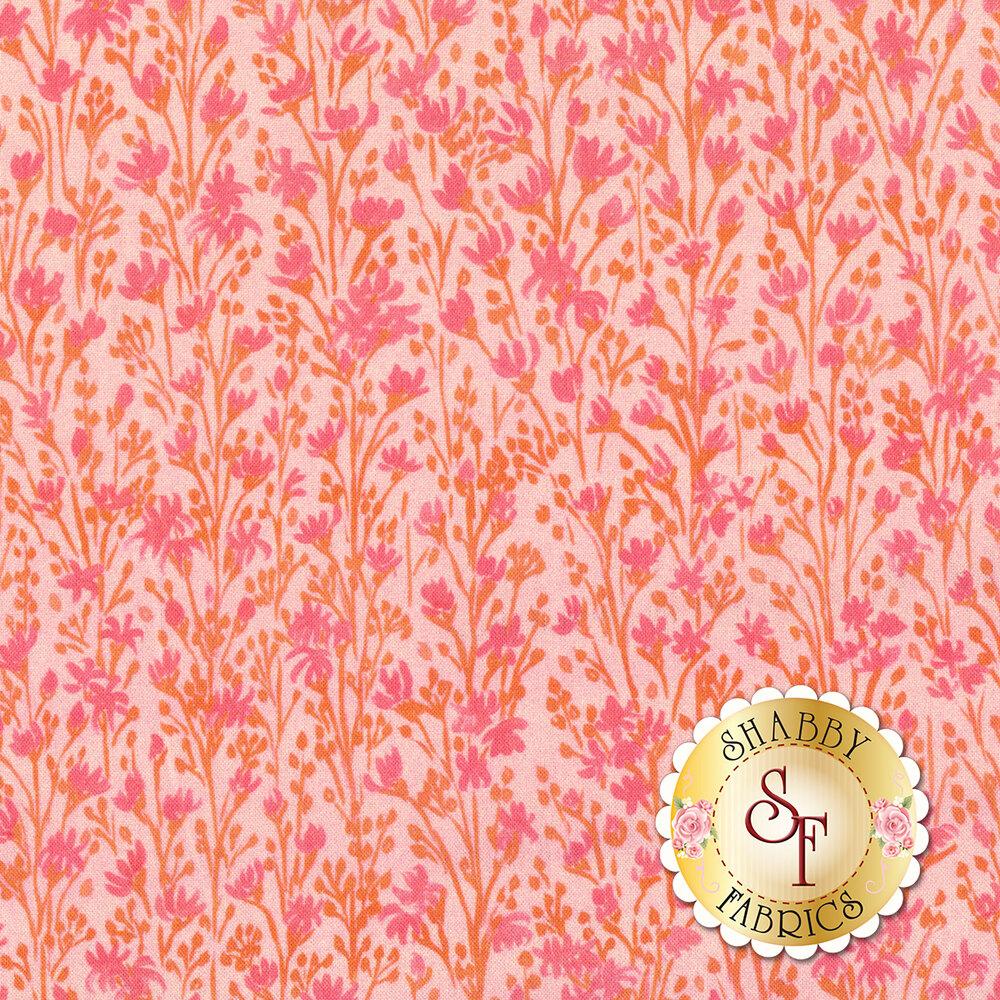 Orange and pink flowers on pink background   Shabby Fabrics