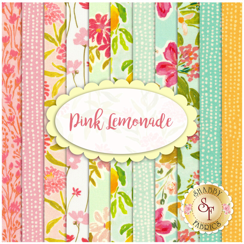 Collage of fabrics in Pink Lemonade collection | Shabby Fabrics