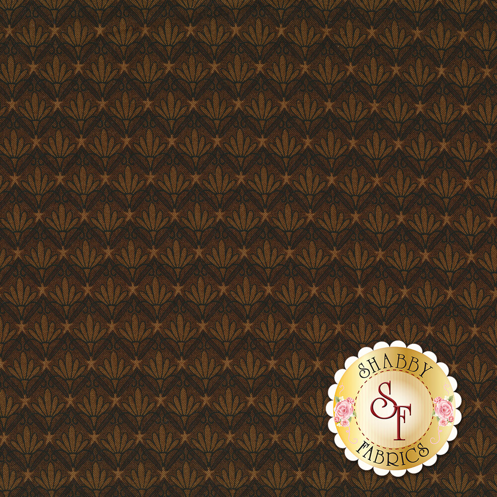 Tonal flower design on brown | Shabby Fabrics