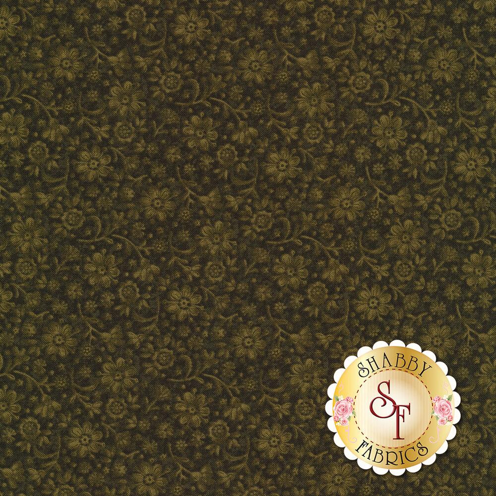 Tonal flower design on green | Shabby Fabrics