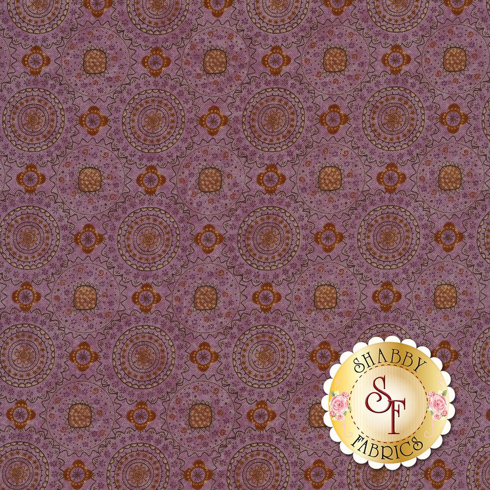 Medallion design on purple | Shabby Fabrics