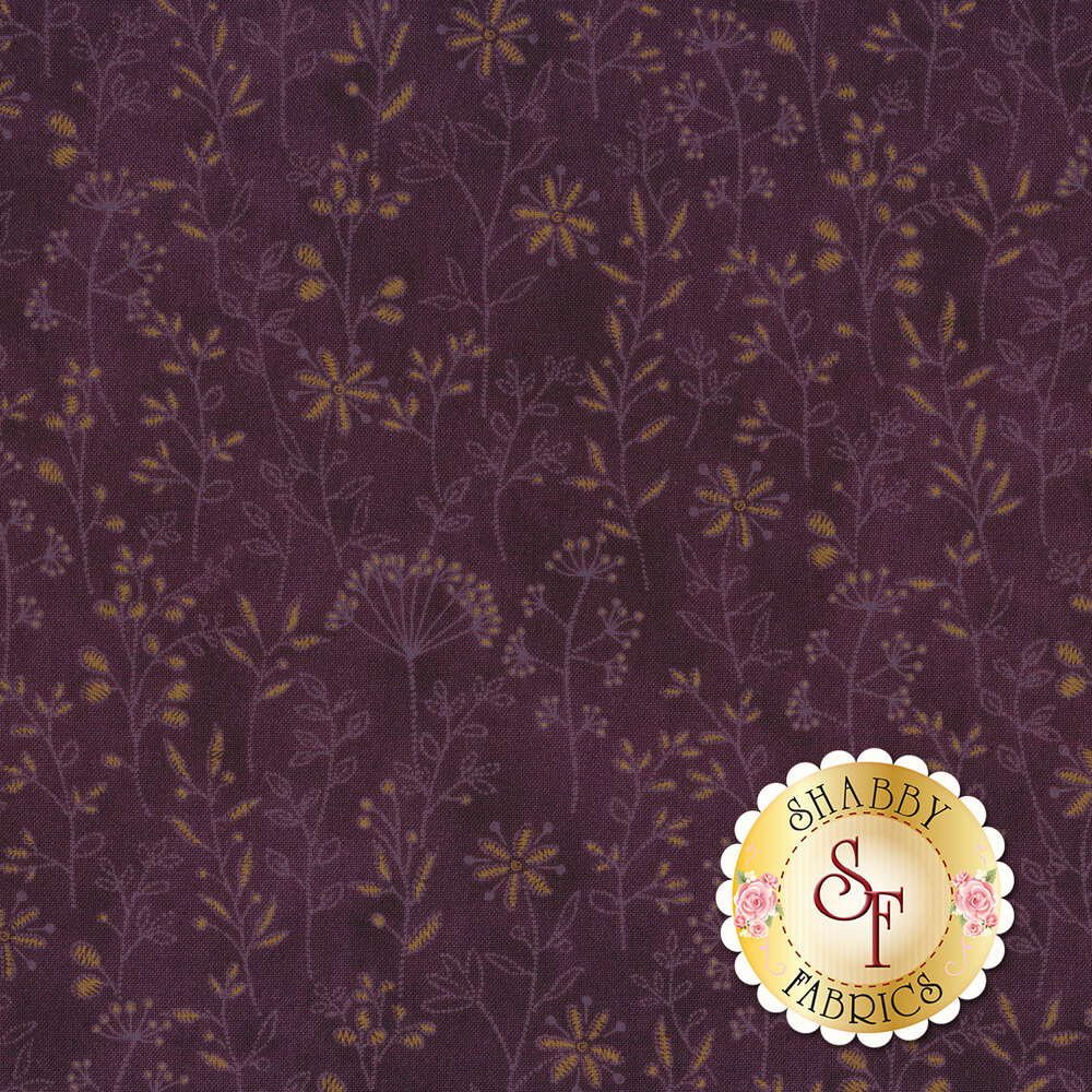 Tonal and gold flowers and vines on purple | Shabby Fabrics