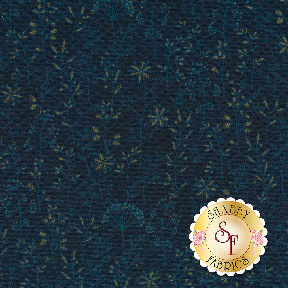 Tonal and gold flowers and vines on blue | Shabby Fabrics
