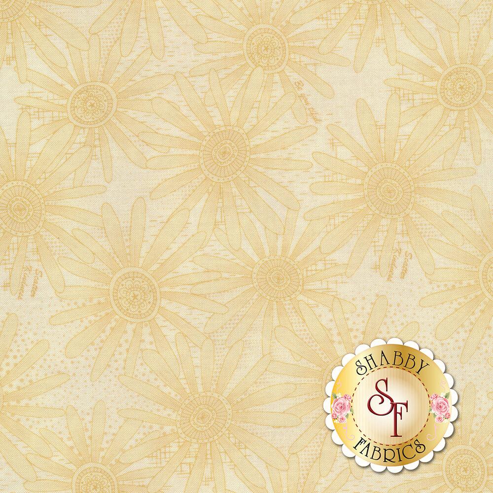 Tonal tan flowers on cream | Shabby Fabrics