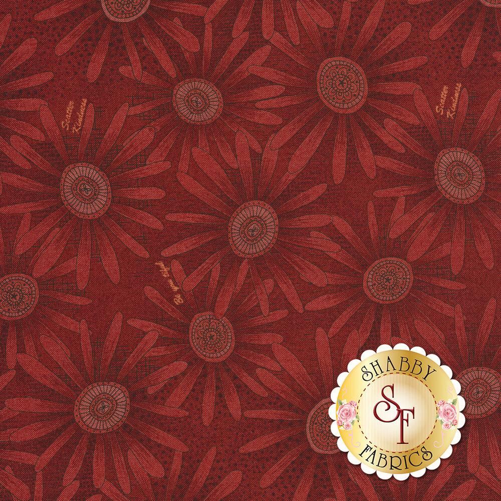 Tonal tan flowers on red   Shabby Fabrics
