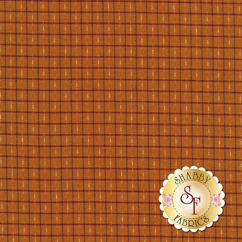 Burnt orange gingham woven print | Shabby Fabrics