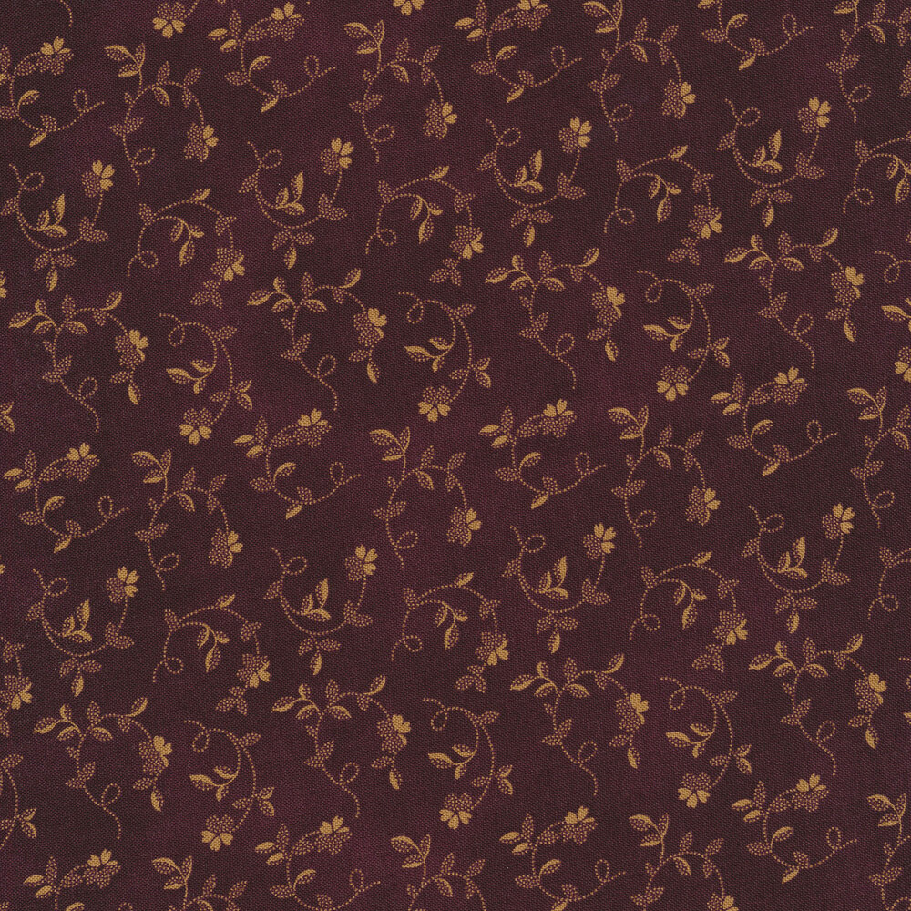 Tan flowers and vines on a maroon background | Shabby Fabrics