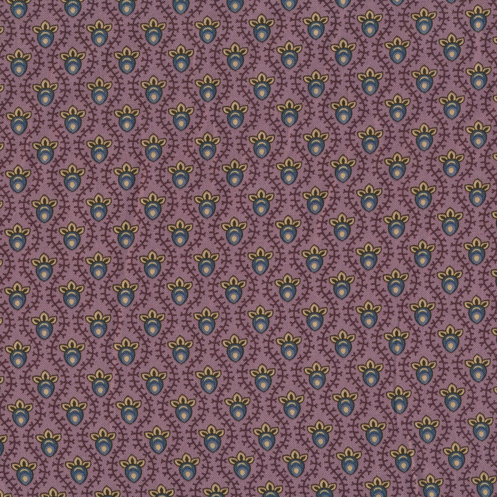 Blue berries with tonal vines on a purple background | Shabby Fabrics