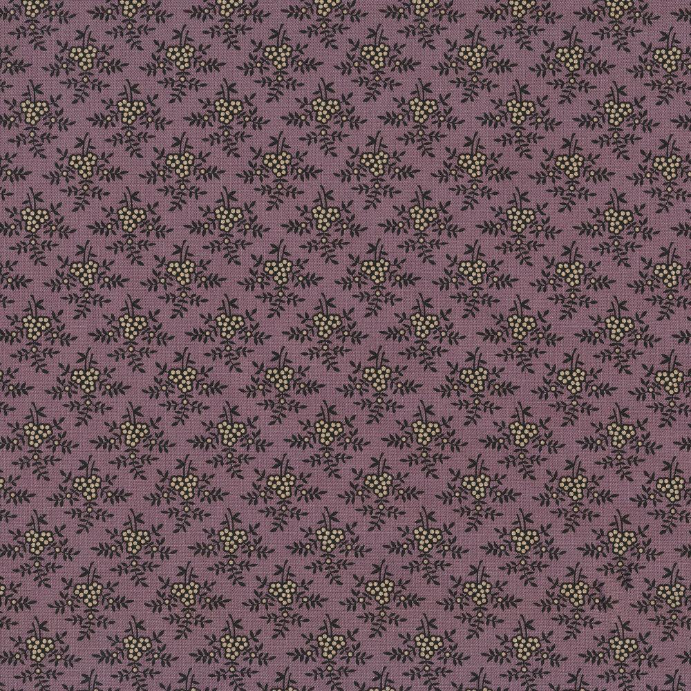 Tan flowers on a purple background   Shabby Fabrics