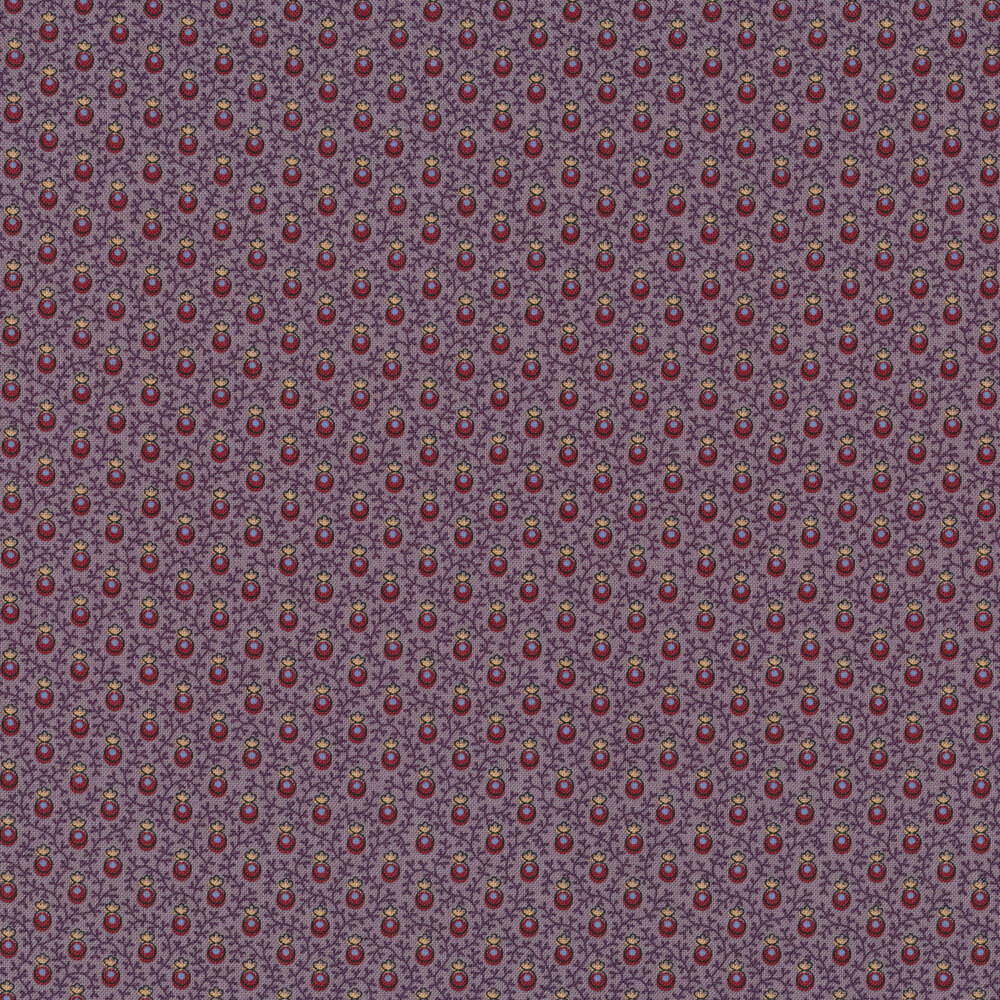 Red berries with tonal vines on a purple background   Shabby Fabrics