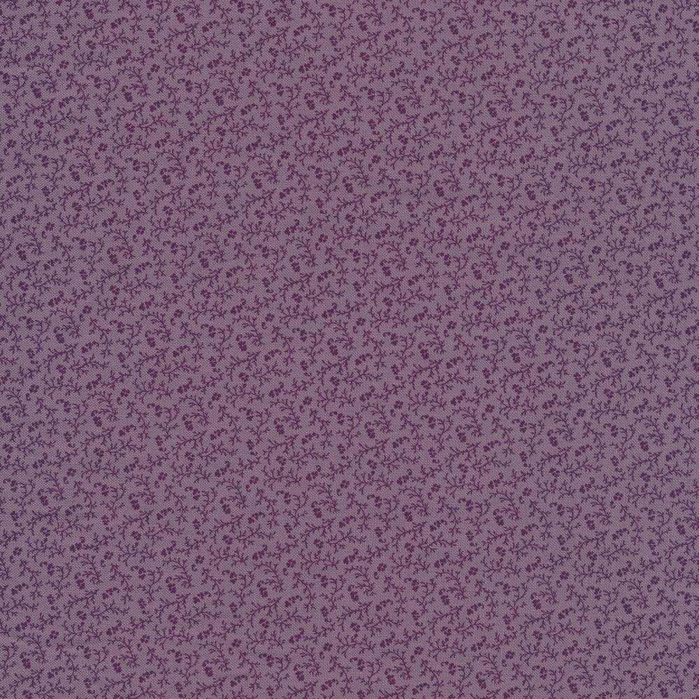 Tonal purple floral and vines   Shabby Fabrics