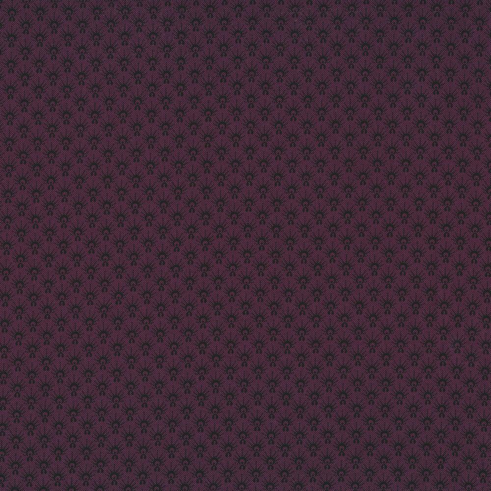 Black print on a maroon background | Shabby Fabrics