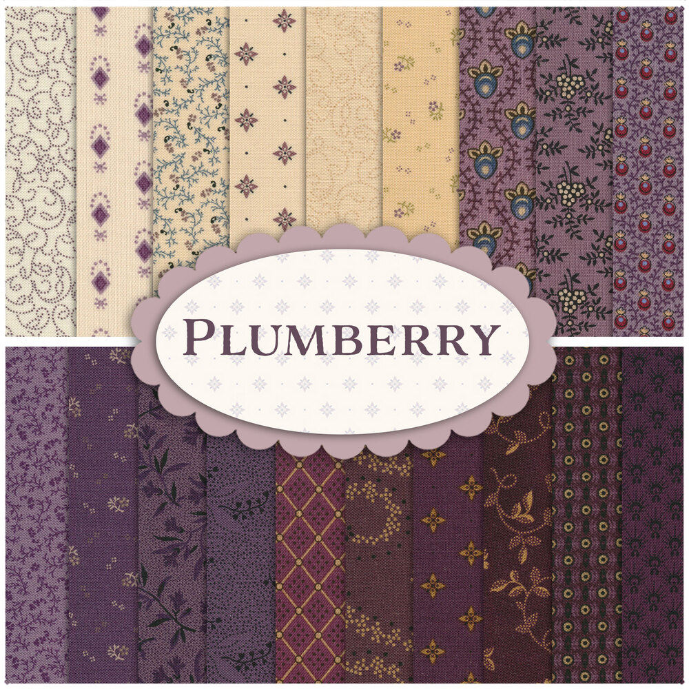 A collage of fabrics featured in the 19 Plumberry FQ Set