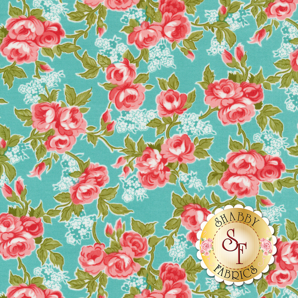 Pink and blue flowers on a blue background | Shabby Fabrics