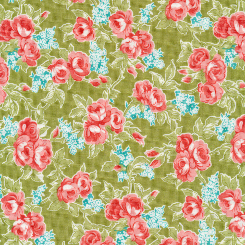 Pink and Blue flowers on a green background | Shabby Fabrics