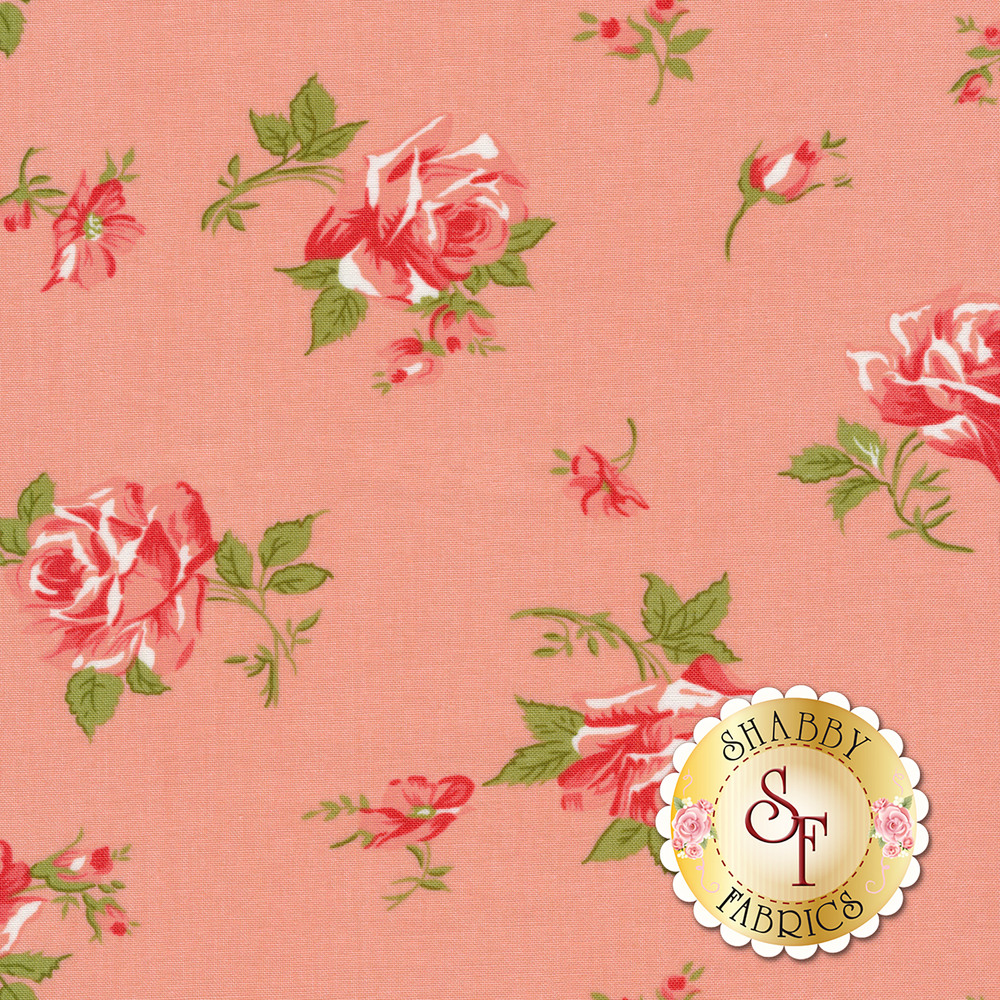 Tossed pink flowers on pink | Shabby Fabrics