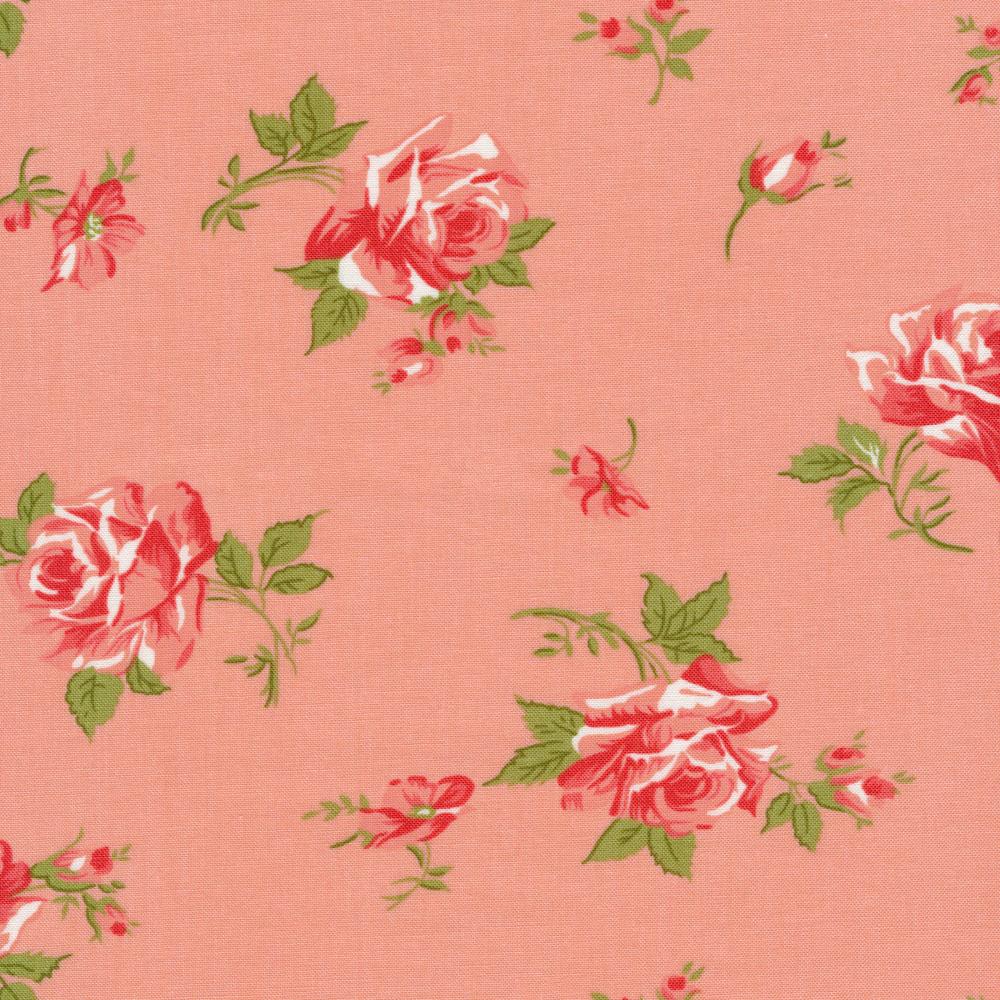 Tossed pink flowers on pink   Shabby Fabrics