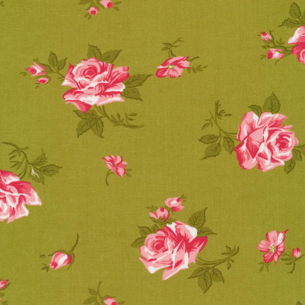 Tossed pink flowers on green | Shabby Fabrics