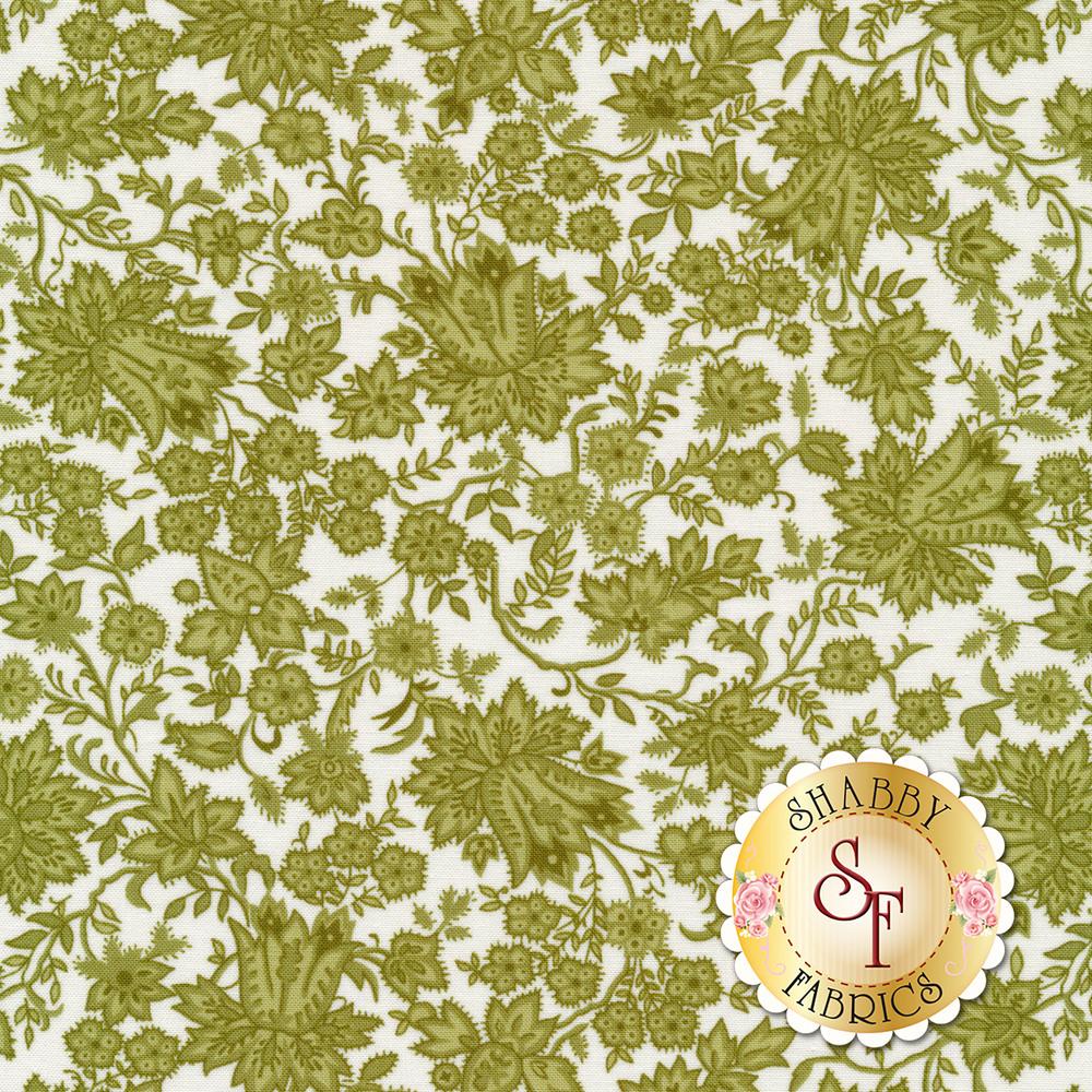 Green Jacobean print on white | Shabby Fabrics