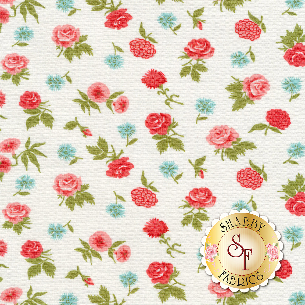 Pink and blue flowers tossed on a white background | Shabby Fabrics