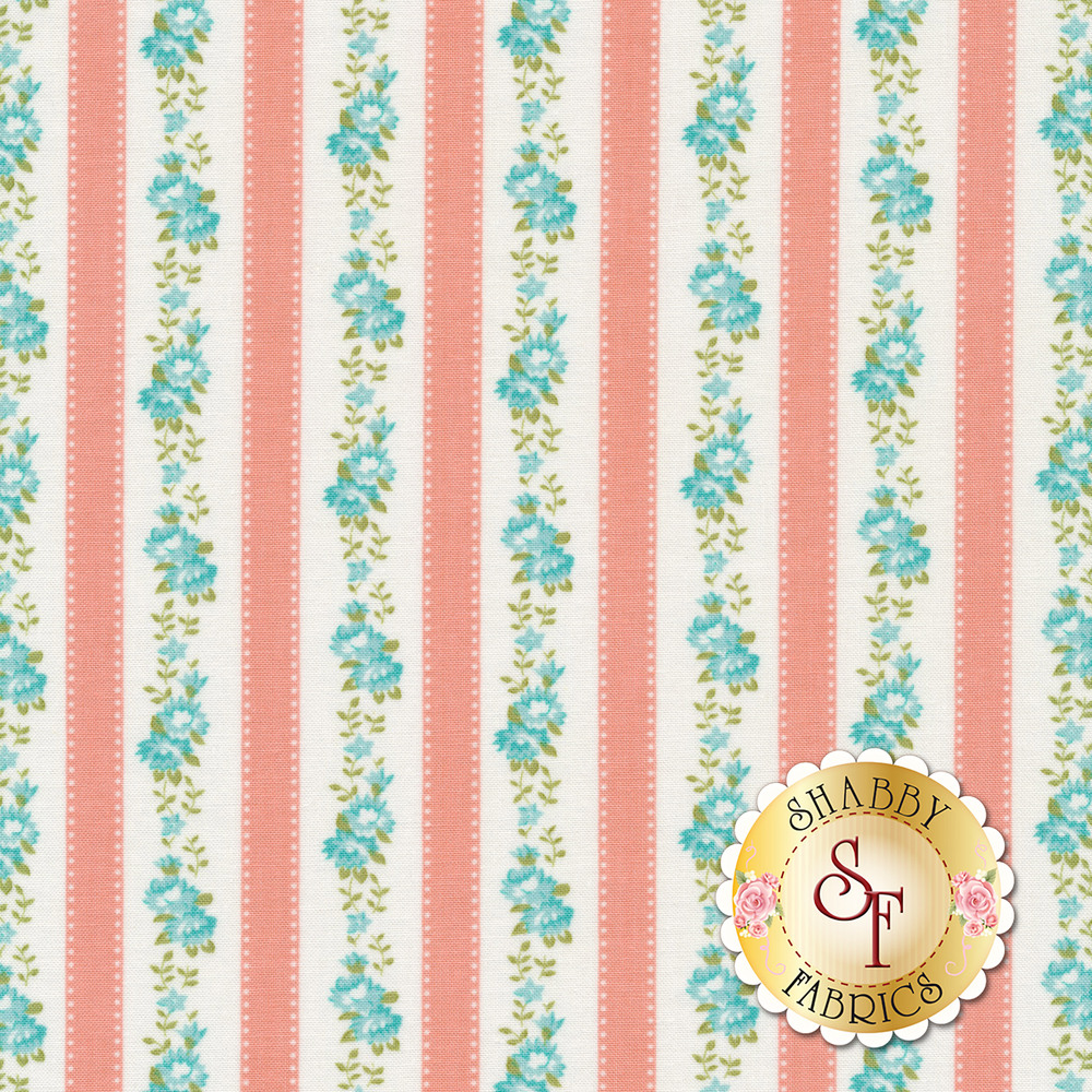 Pink stripe with blue flowers on white between stripes | Shabby Fabrics