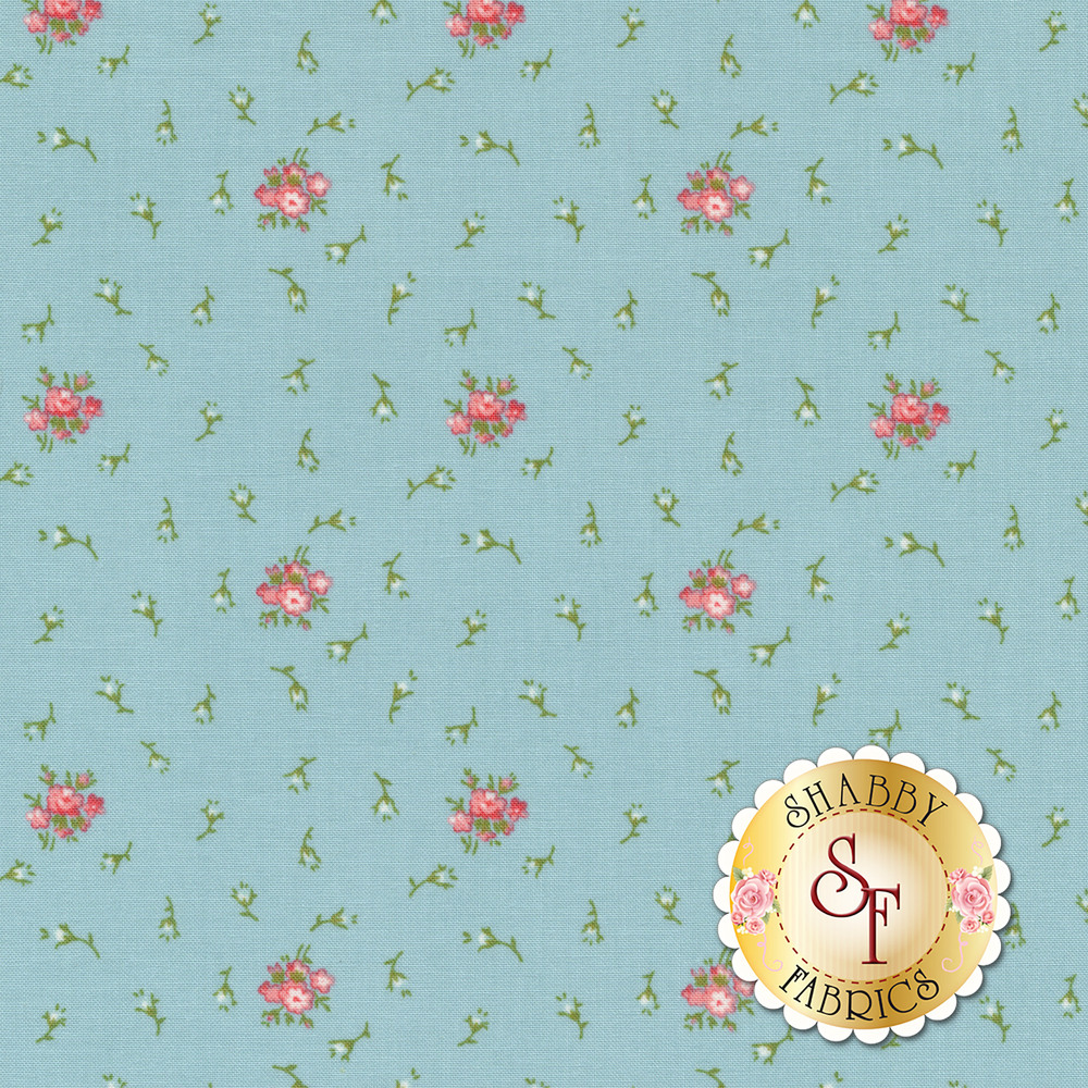 Small pink and white flowers tossed on blue | Shabby Fabrics