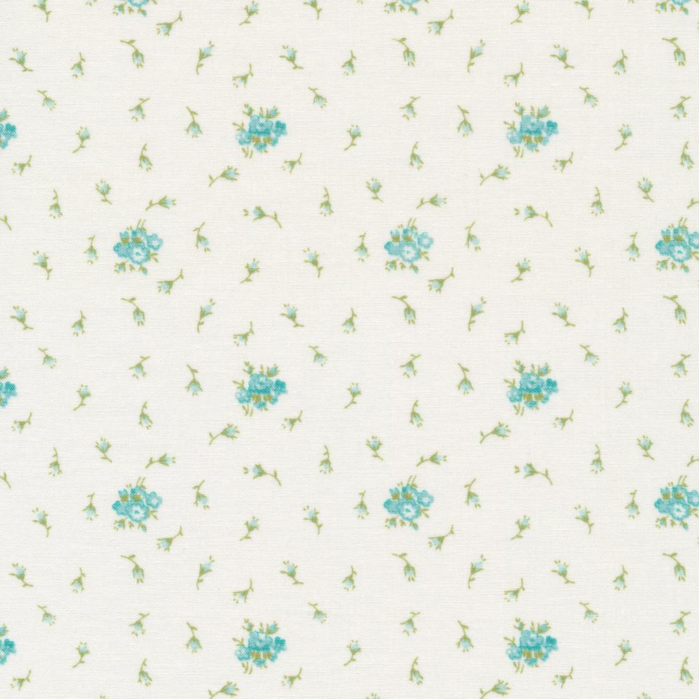 Blue flowers tossed on cream | Shabby Fabrics