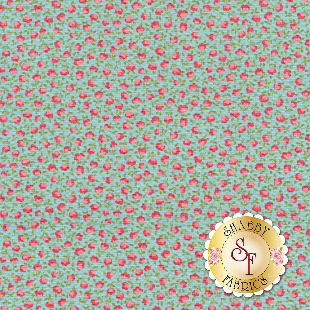 Pink flowers with leaves and vines on blue | Shabby Fabrics
