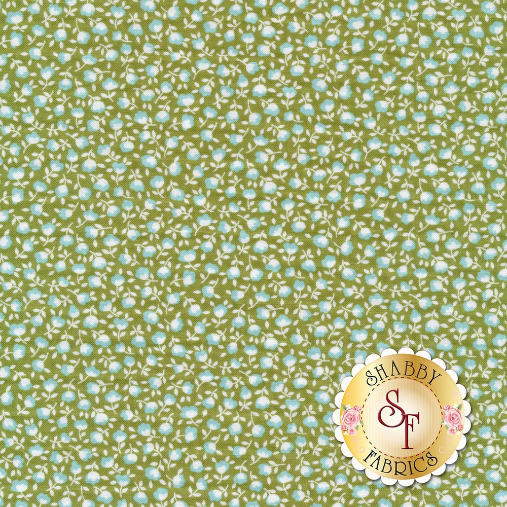 Blue and white flowers on a green background | Shabby Fabrics