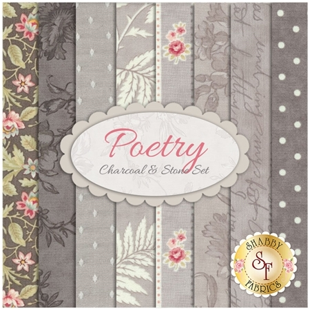 Poetry  8 FQ Set - Charcoal & Stone Set by 3 Sisters for Moda Fabrics