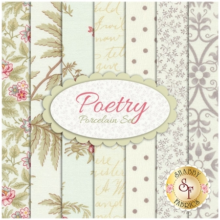 Poetry  7 FQ Set - Porcelain Set by 3 Sisters for Moda Fabrics