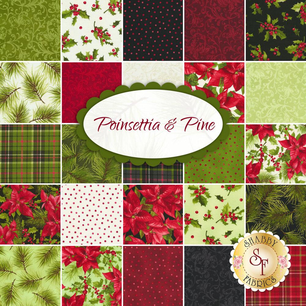 Poinsettia & Pine  Yardage by Maywood Studio Fabrics