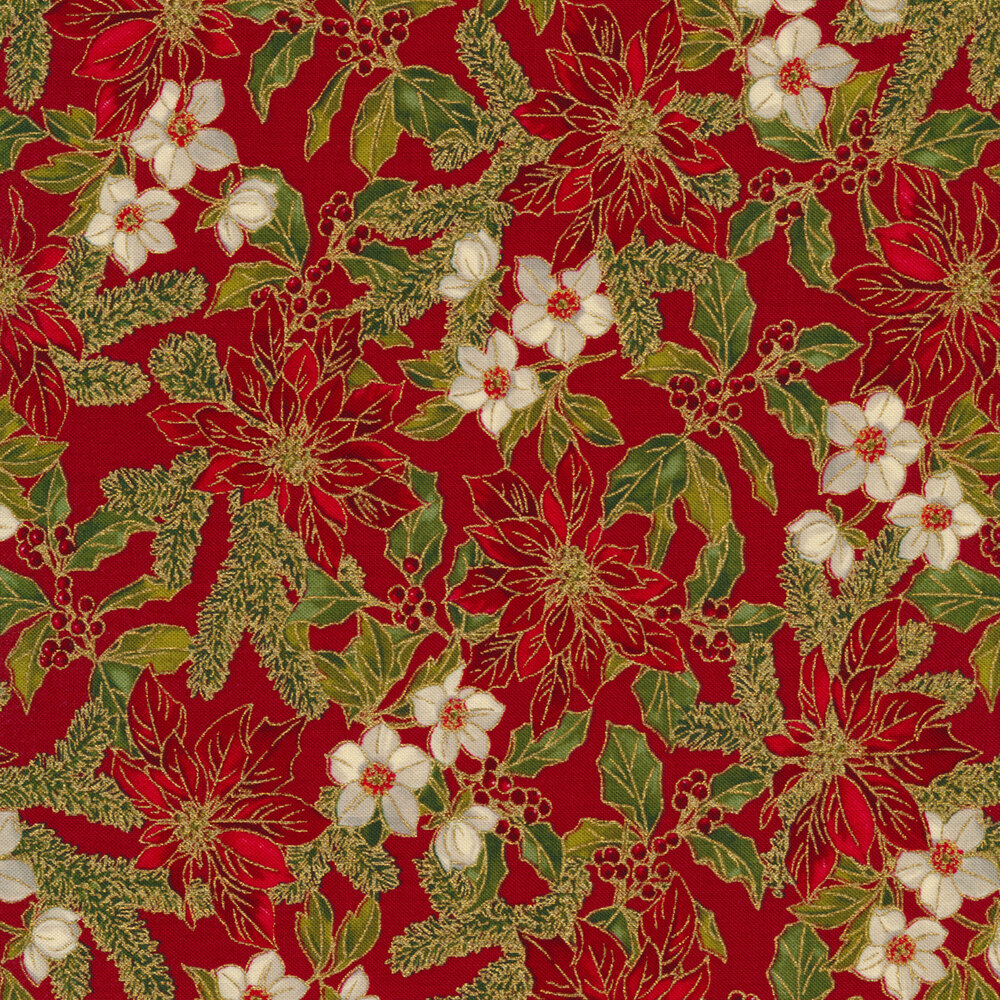 Poinsettias, small white flowers, and holly with berries on a red background | Shabby Fabrics