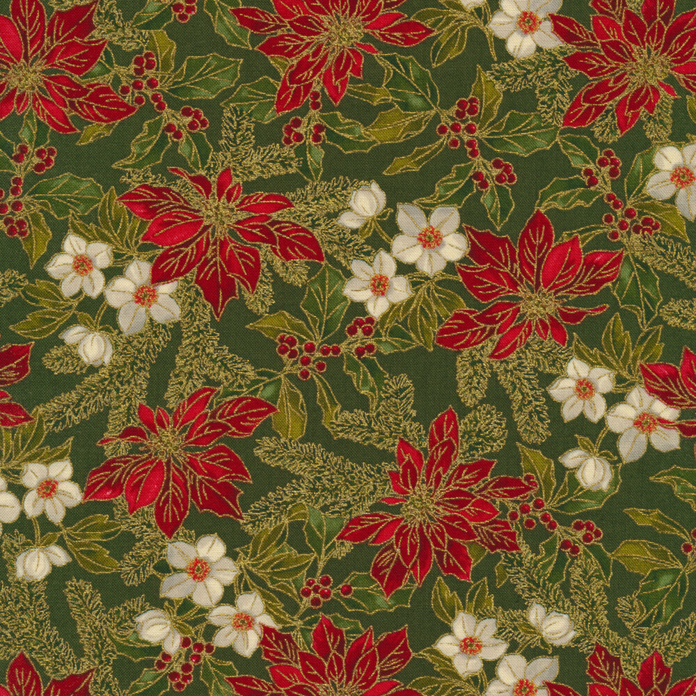 Poinsettias, small white flowers, and holly with berries on a green background   Shabby Fabrics