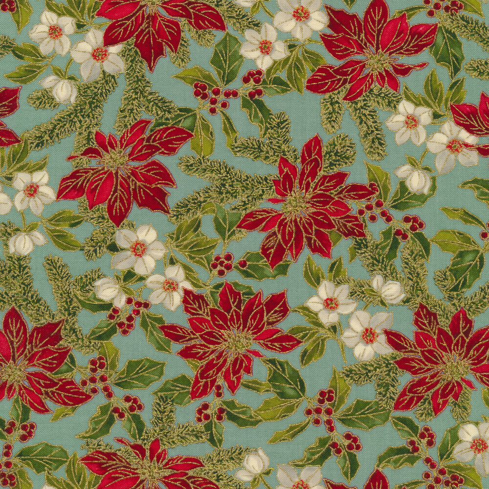 Poinsettias, small white flowers, and holly with berries on an aqua background | Shabby Fabrics
