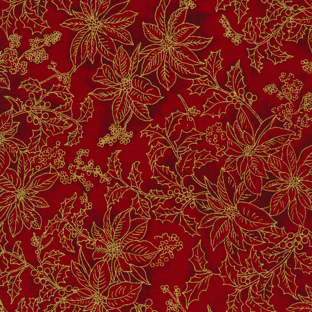 Tonal poinsettias and holly berries with gold metallic accents on a red background | Shabby Fabrics