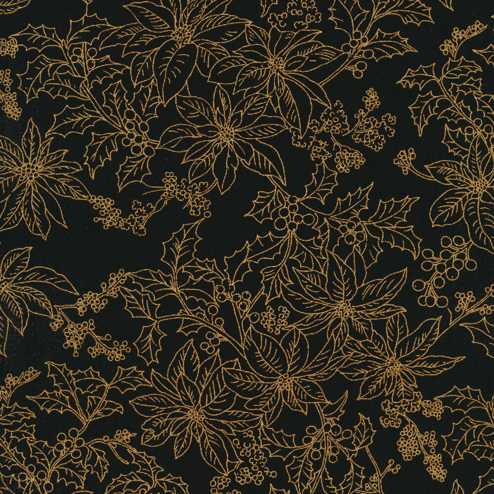 Poinsettias and holly berries with gold metallic accents on a black background   Shabby Fabrics